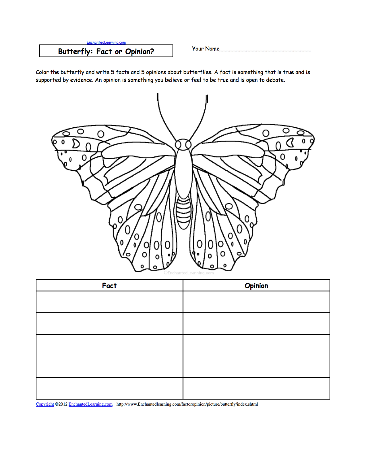 Writing Worksheets: Insects at EnchantedLearning.com