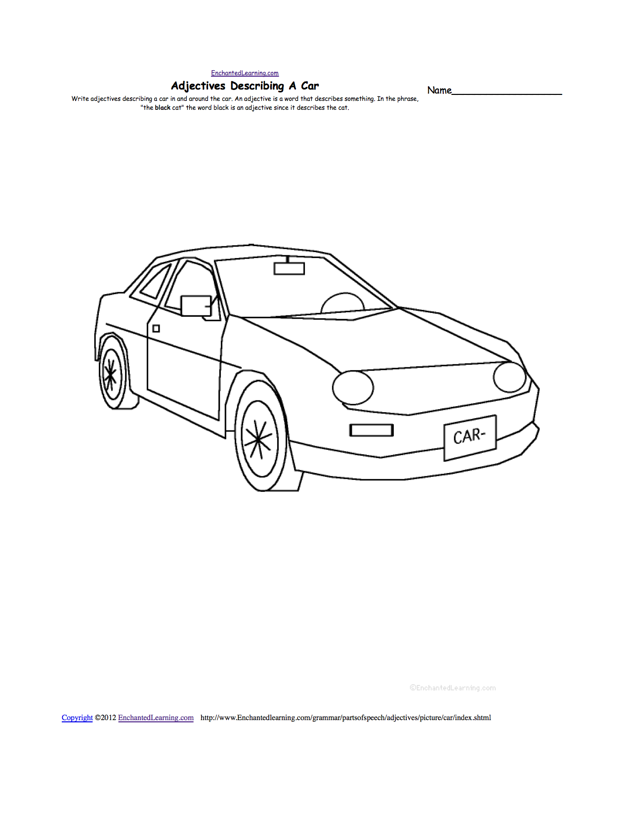 Write adjectives describing a picture printable for Simple car parts