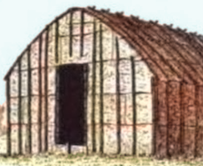 Front of Iroquois longhouse, about 1900
