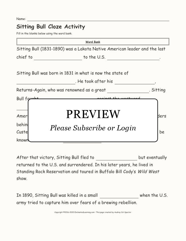 Sitting Bull Fill-in-the-Blanks Cloze Activity