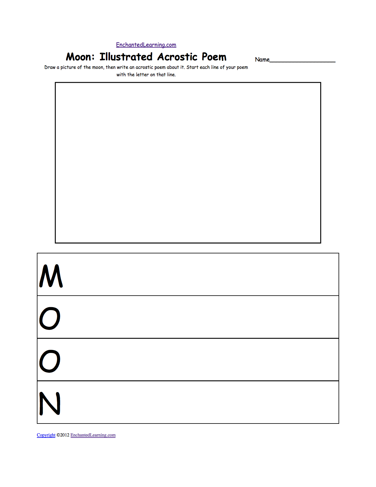 moon illustrated acrostic poem draw a picture of the moon then write ...