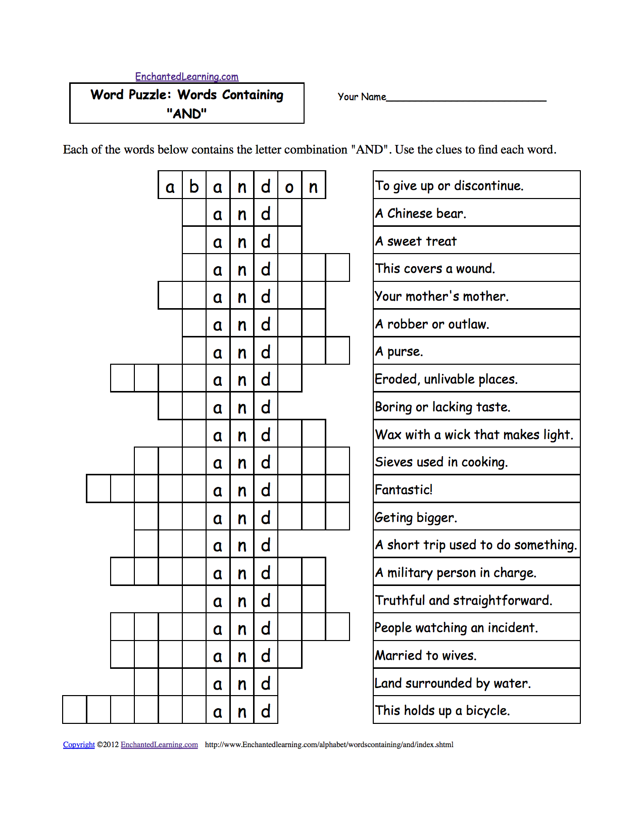 Word Puzzles Words Containing ThreeLetter Combinations – Puzzle Worksheets