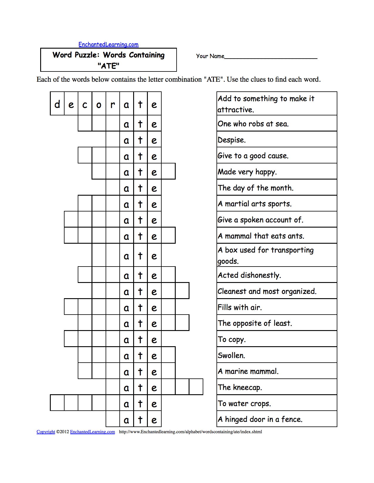 Worksheets Word Puzzles Worksheets word puzzles words containing three letter combinations puzzle ant