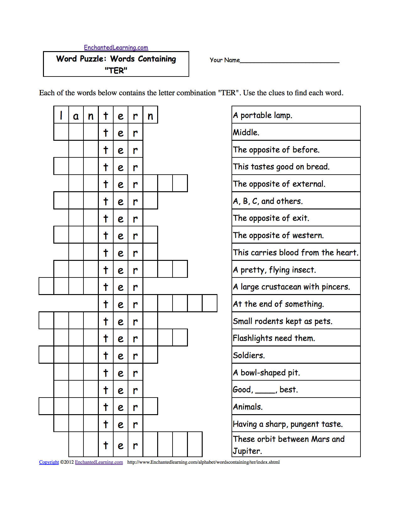 Word Puzzles: Words Containing Three-Letter Combinations: Worksheets ...