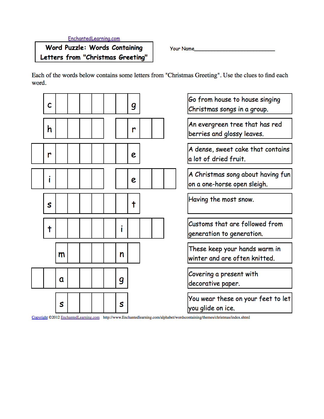 Christmas Activities Spelling Worksheets EnchantedLearning – Christmas Kindergarten Worksheets Printable