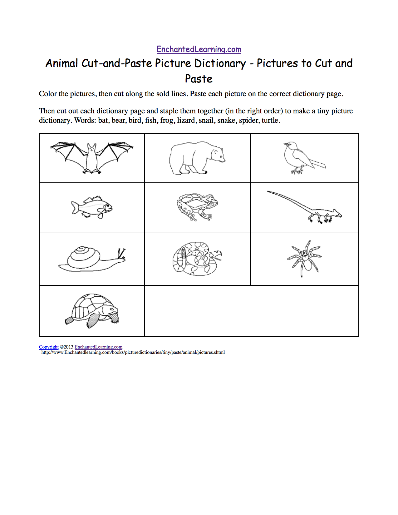 animal cut and paste picture dictionary a short book to print