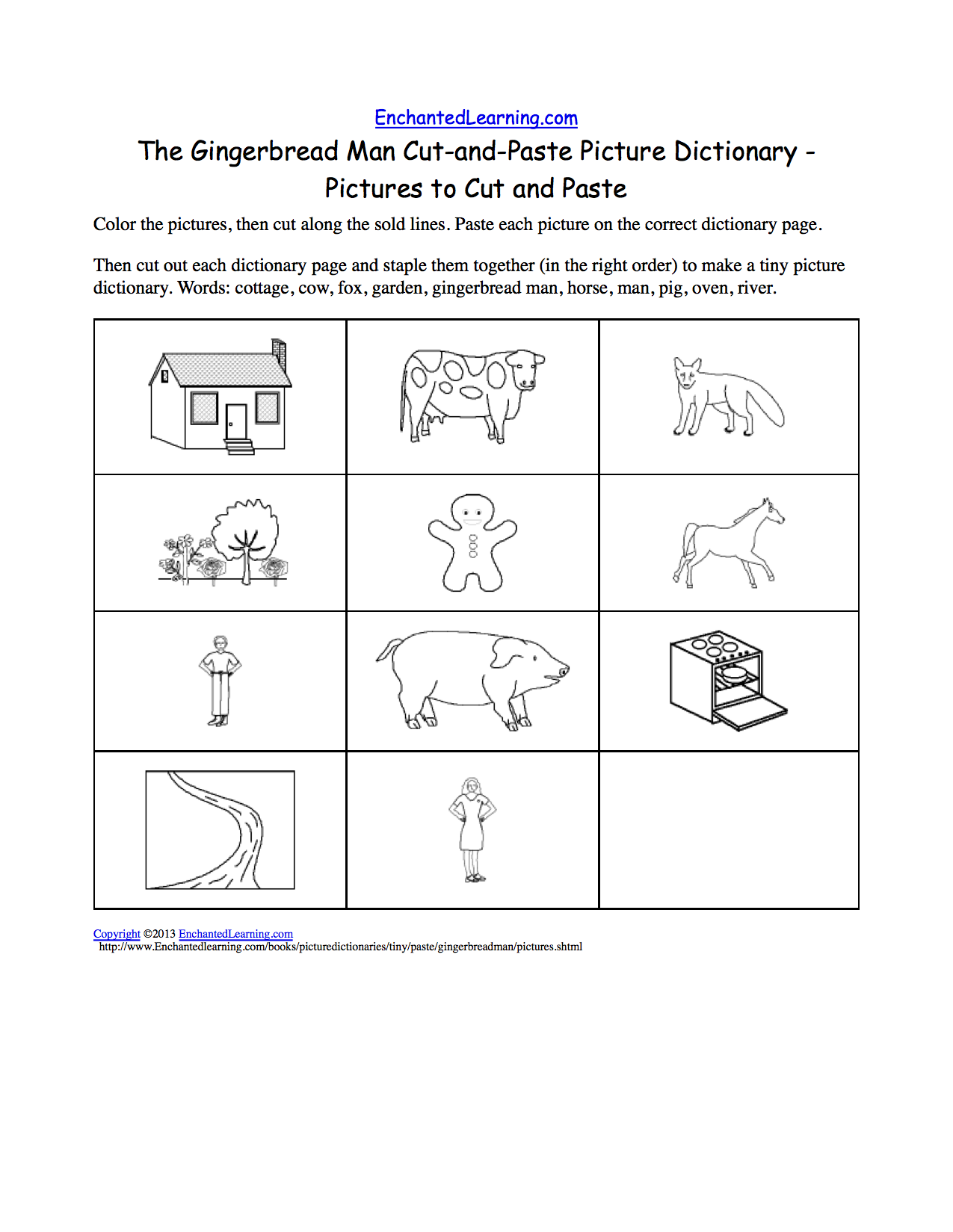 The Gingerbread Man CutandPaste Picture Dictionary A