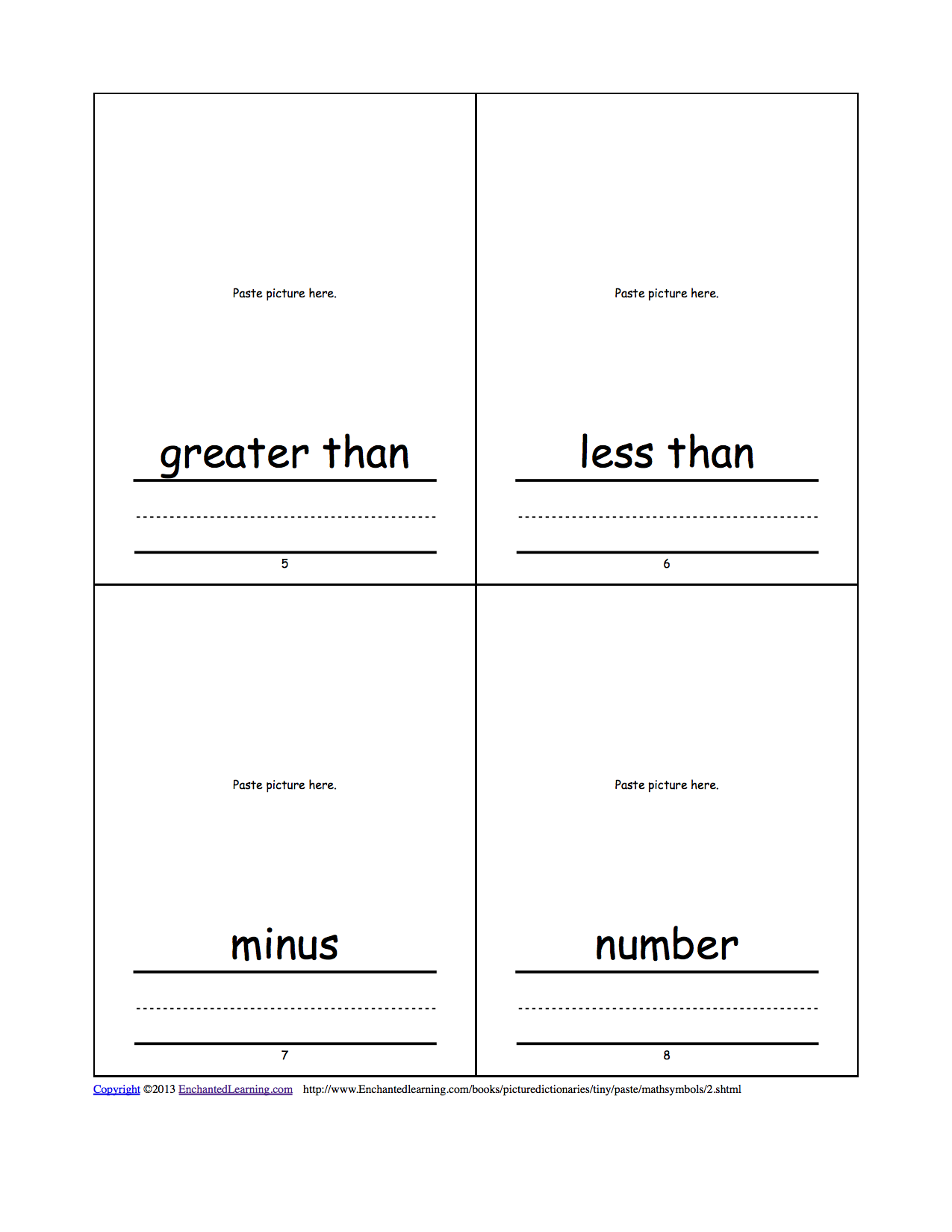 Math symbols cut and paste picture dictionary a short book to words greater than less than minus number buycottarizona Image collections