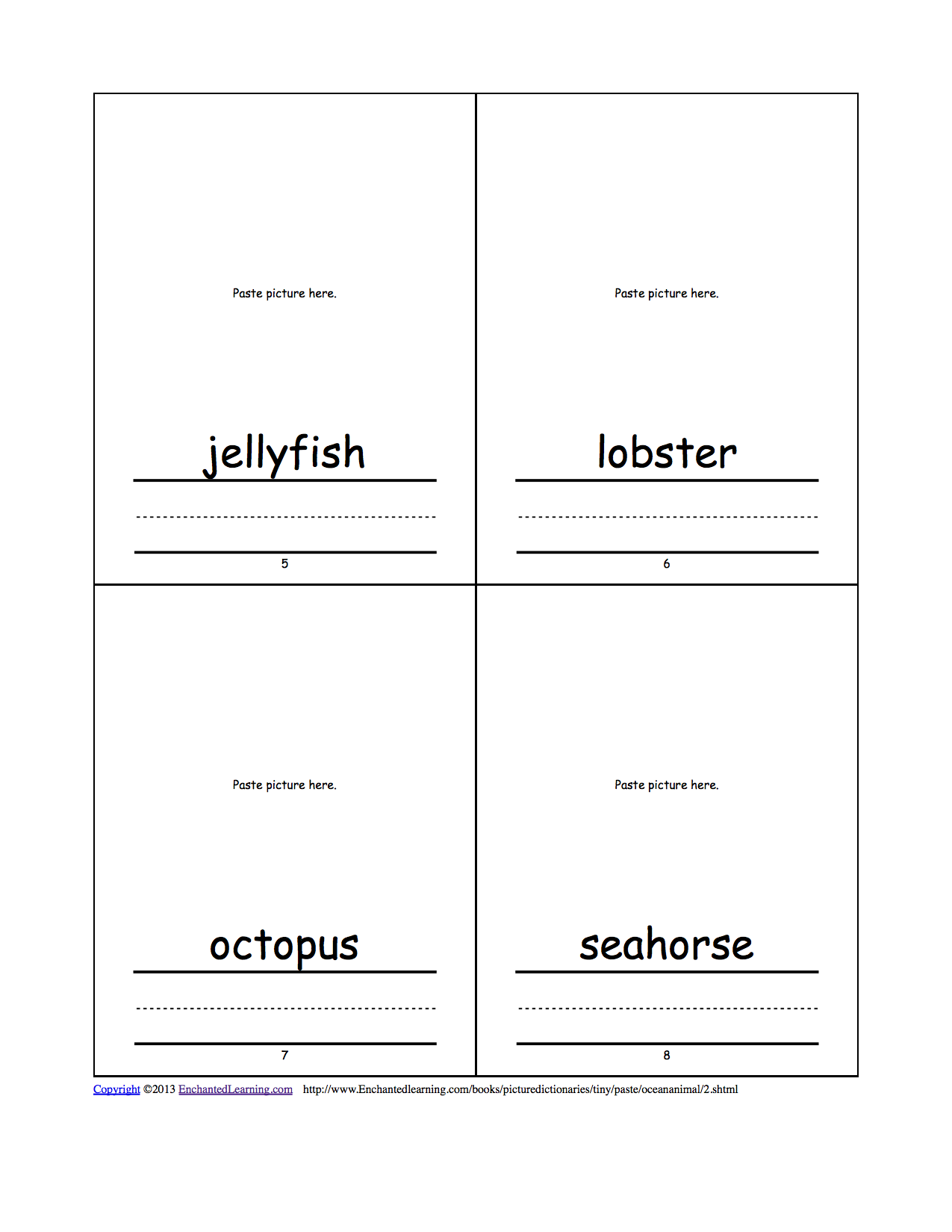 ocean animal cut and paste picture dictionary a short book to