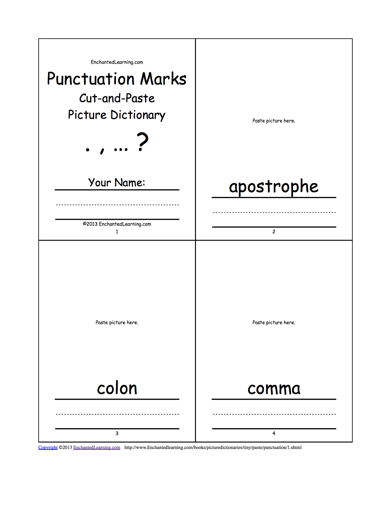 punctuation marks cut-and-paste picture dictionary