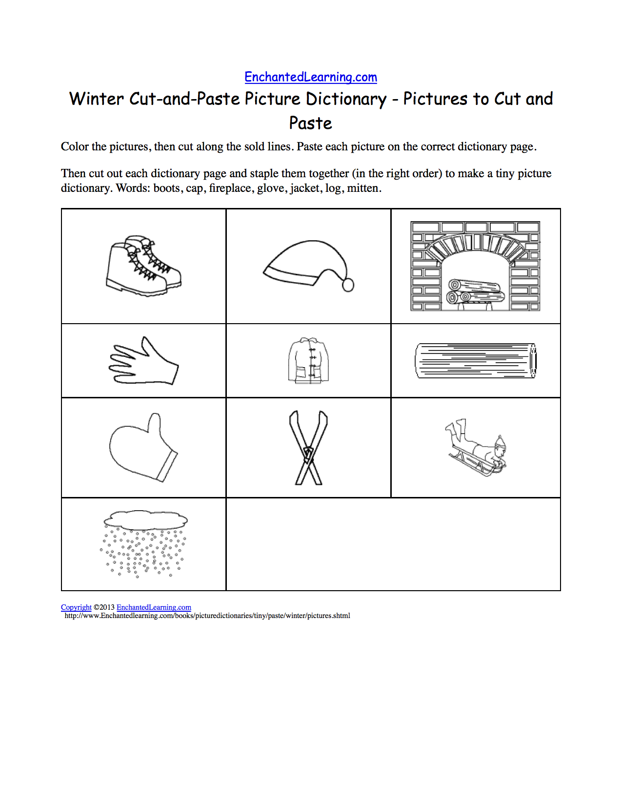 winter cut and paste picture dictionary a short book to print