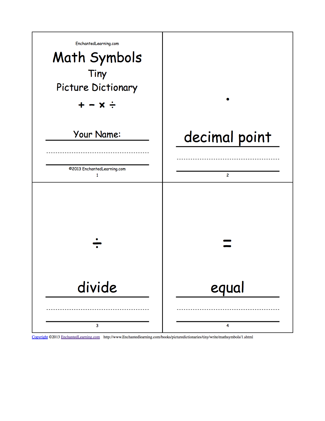 Math symbols tiny picture dictionary a short book to print pages 1 4 words decimal point divide equal biocorpaavc Image collections