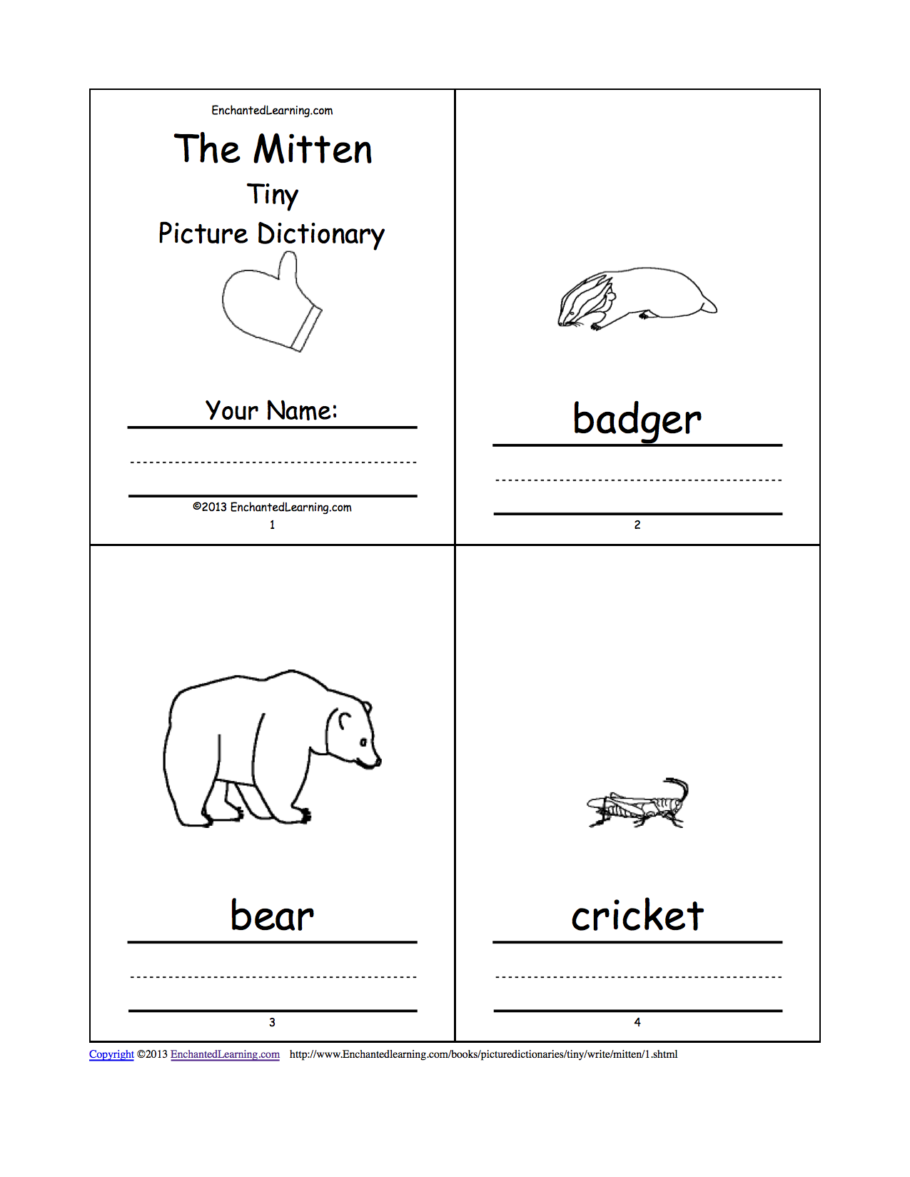 "Calendar Book Printable : Search results for ""the mitten printable mini book"