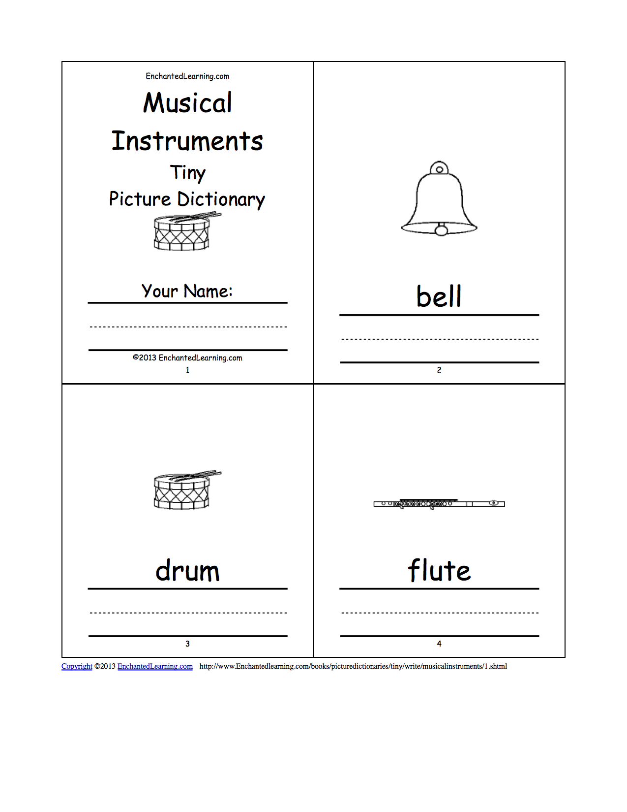 Musical Instruments Tiny Picture Dictionary - A Short Book to Print ...