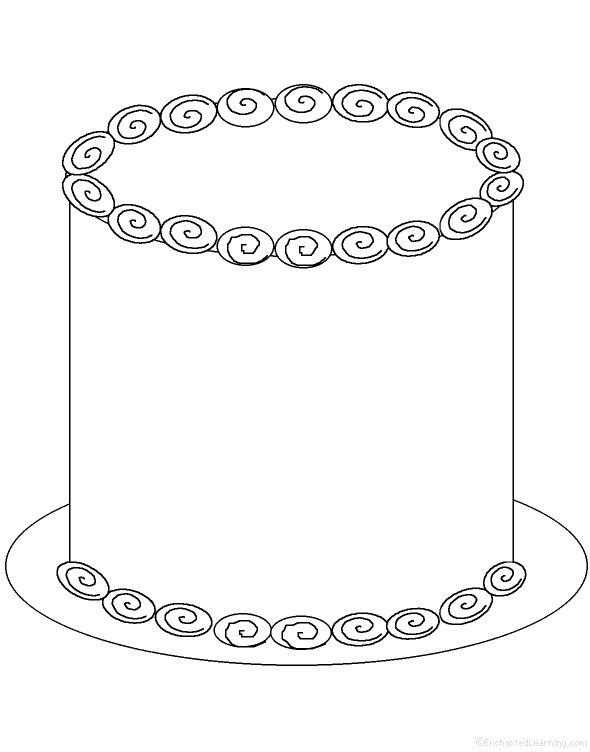 Awesome Blank Birthday Cake Coloring Pages Pictures Coloring