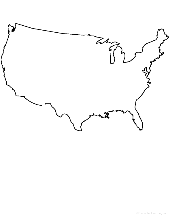 US GEOGRAPHY EnchantedLearningcom - Outline map of us states