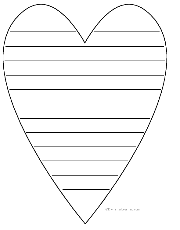 shape poems enchantedlearningcom With heart shaped writing template