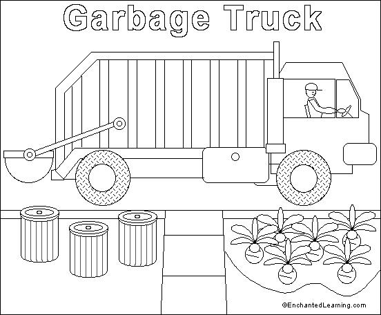 Garbage Truck Online Coloring Page: EnchantedLearning.com