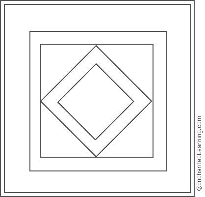 amish quilt diamond center coloring page enchantedlearningcom - Diamond Coloring Page