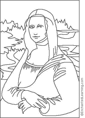 Leonardo da Vinci Mona Lisa Coloring Page EnchantedLearningcom