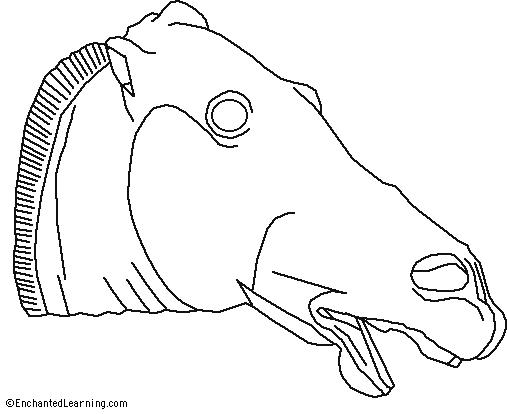 Greek Horse from the Parthenon Coloring Page EnchantedLearningcom