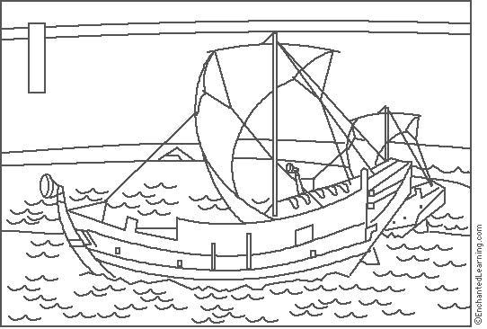 Hokusai Ships Coloring Page
