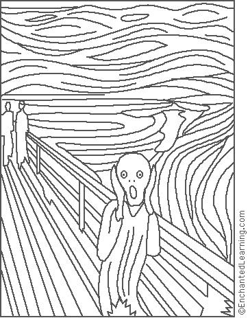 famous artists for kids coloring pages - edvard munch the scream coloring page