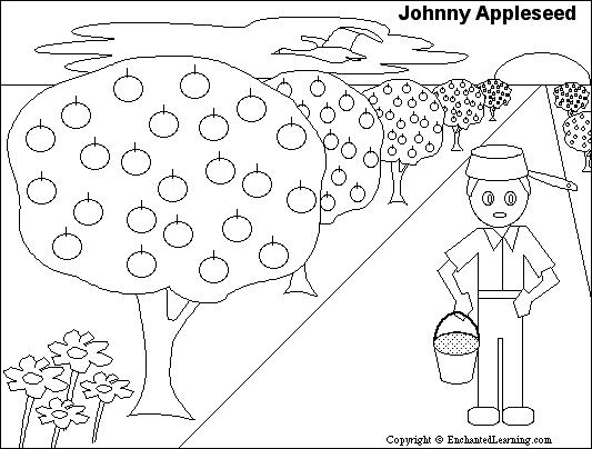 Johnny Appleseed Coloring Page Johnny Appleseed Printout Zoomschool