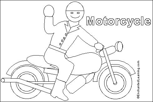 Motorcycle Online Coloring Page EnchantedLearning
