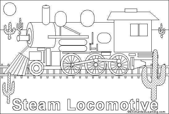 Train engine online coloring page EnchantedLearningcom