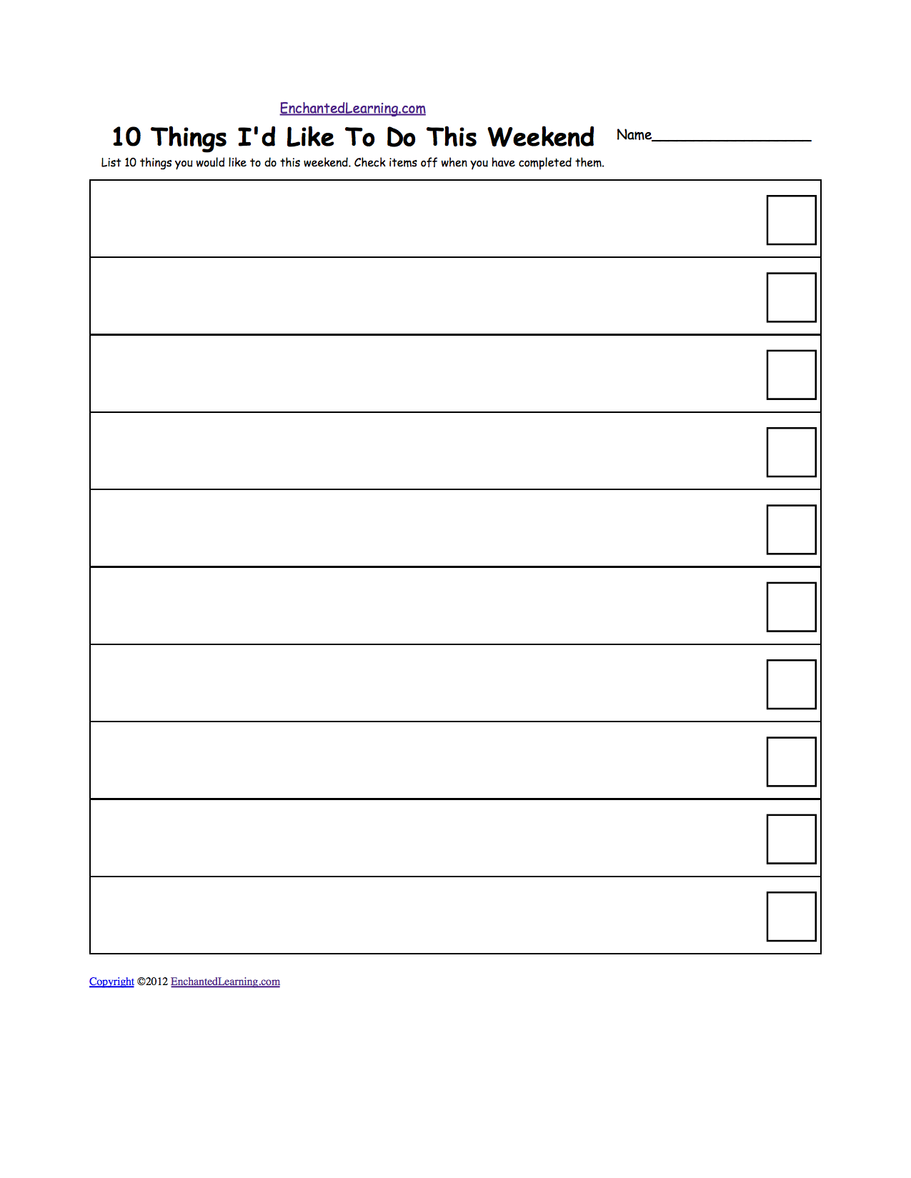 Checklists - Printable Worksheets. EnchantedLearning.com