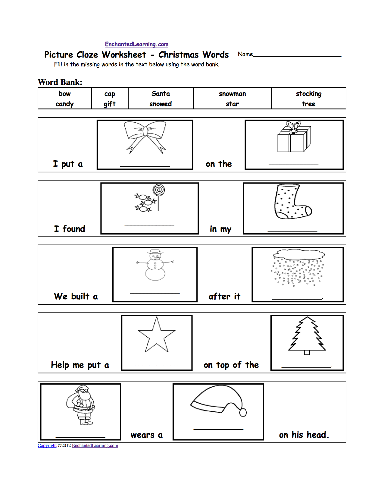 worksheet Christmas Worksheets For Kindergarten christmas crafts for kids enchantedlearning com or go to the answers cloze picture words printable worksheet