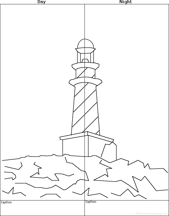 The Beach Drawing And Coloring Worksheets