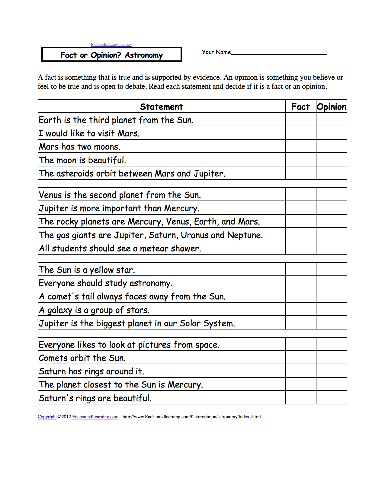 Fact or Opinion? Checkmark Worksheets to Print - EnchantedLearning.com