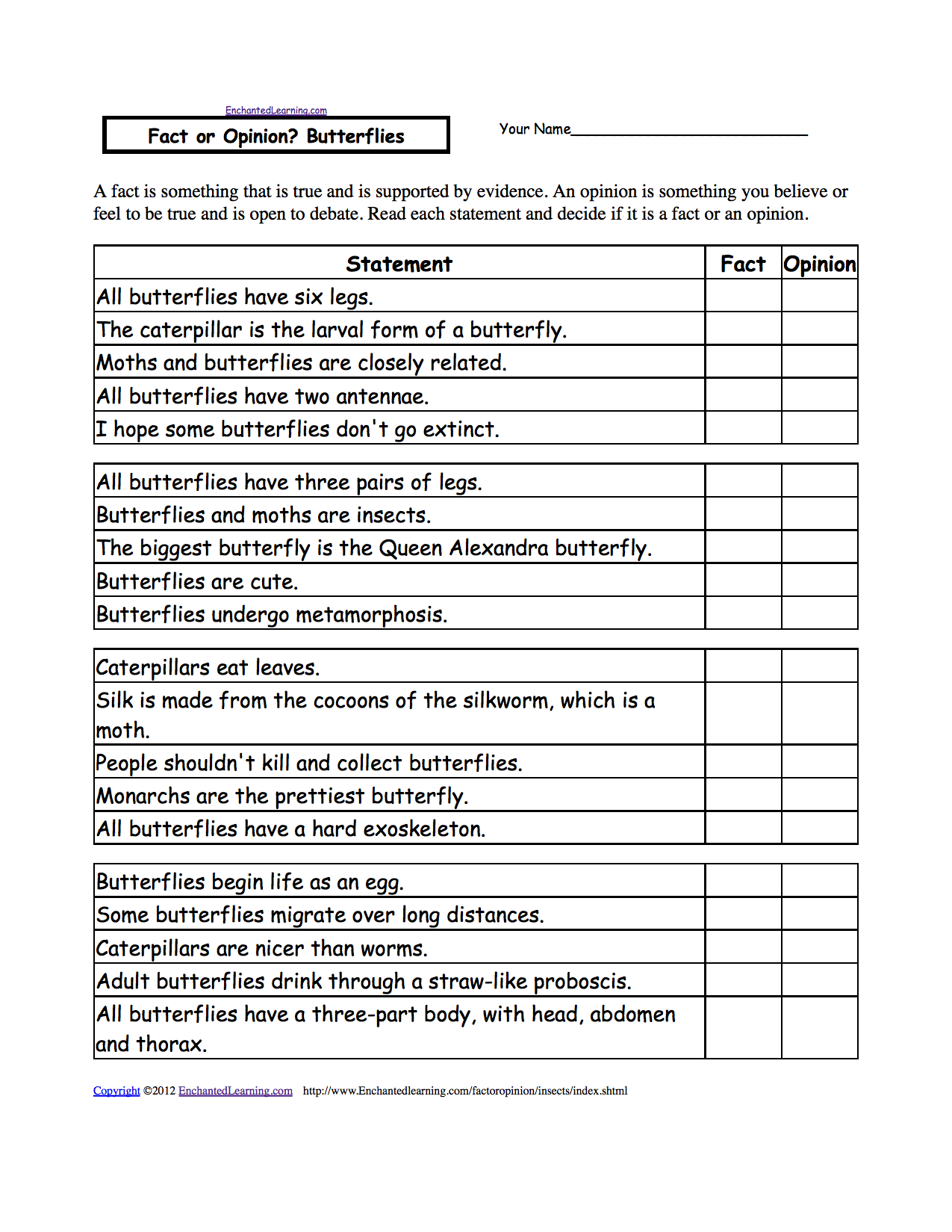 Fact Or Opinion Checkmark Worksheets To Print Enchantedlearning