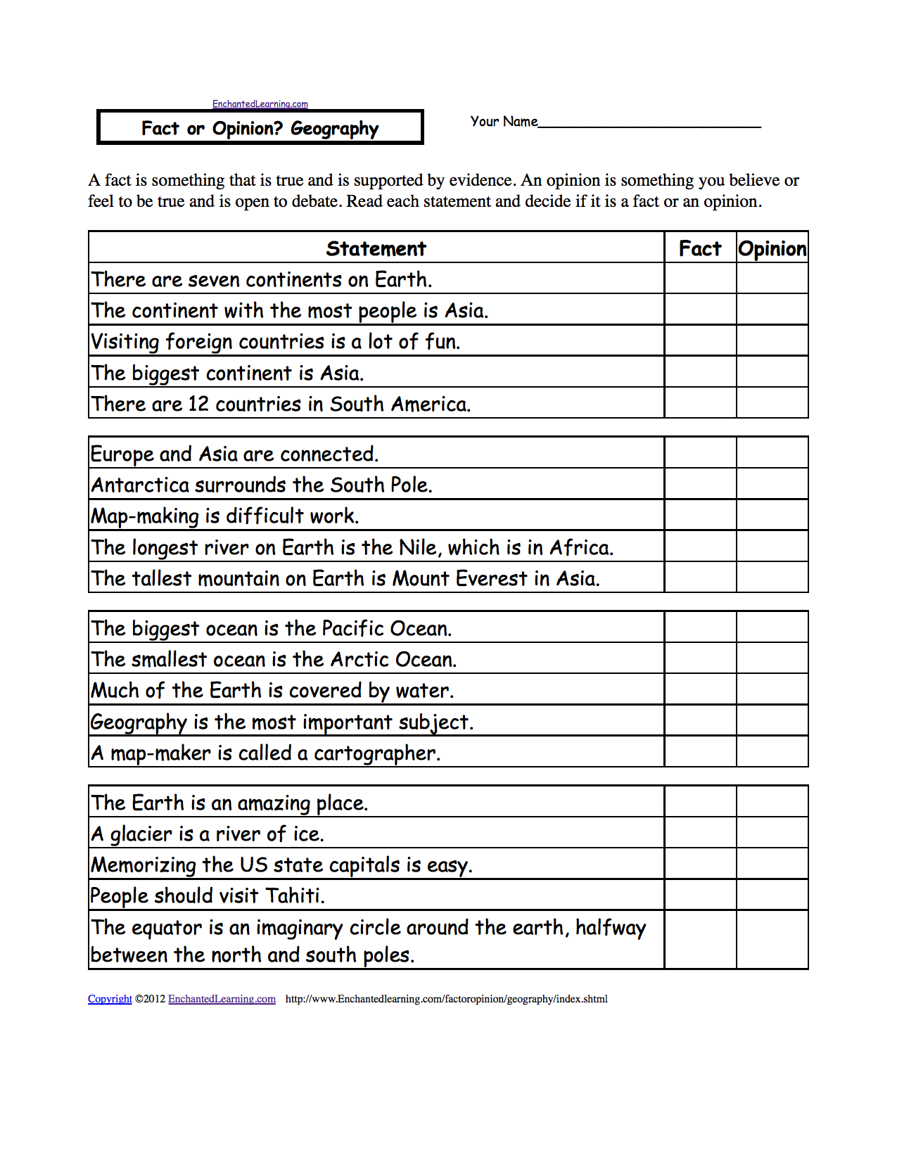 Fact or Opinion Checkmark Worksheets to Print EnchantedLearning – Geography Worksheets High School