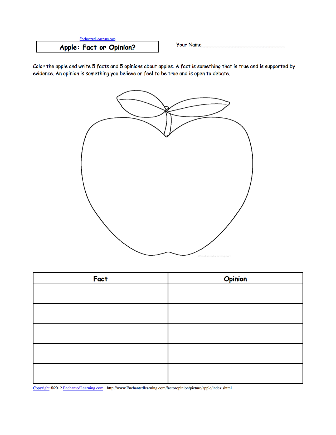 Apples at EnchantedLearning – Kindergarten Apple Worksheets