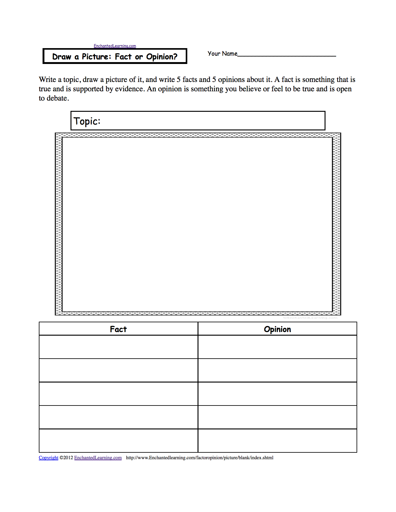 Fact Or Opinion Worksheets To Print Enchantedlearning