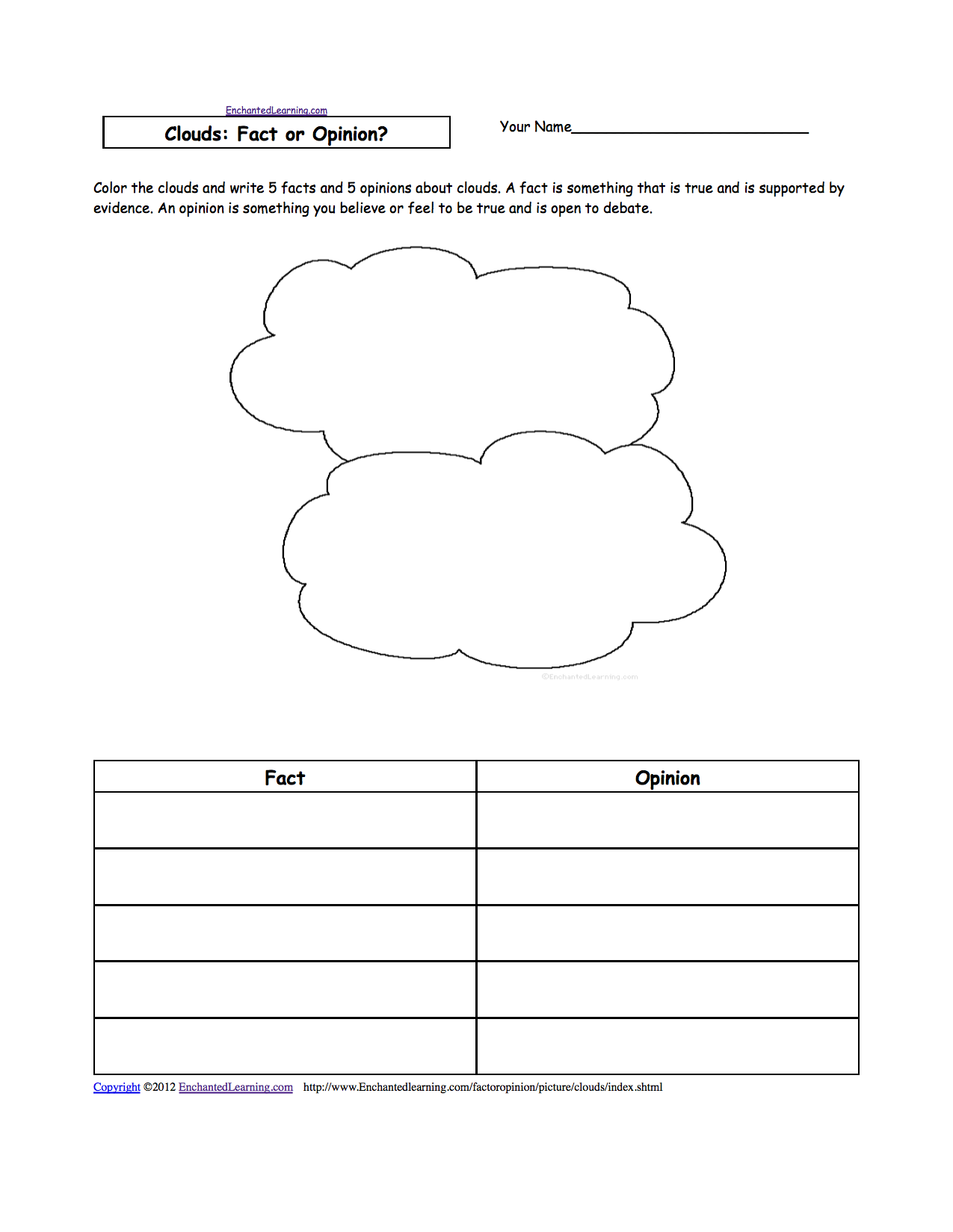 Clouds ENCHANTED LEARNING – Clouds Worksheet