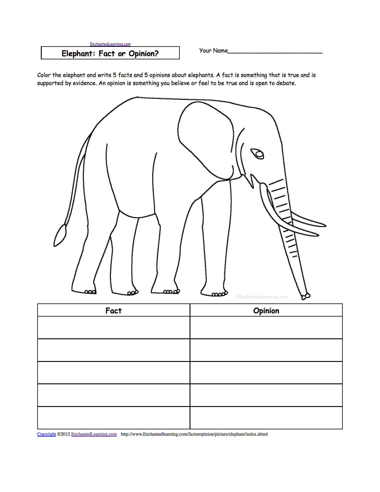 animal writing worksheets at com elephant fact or opinion