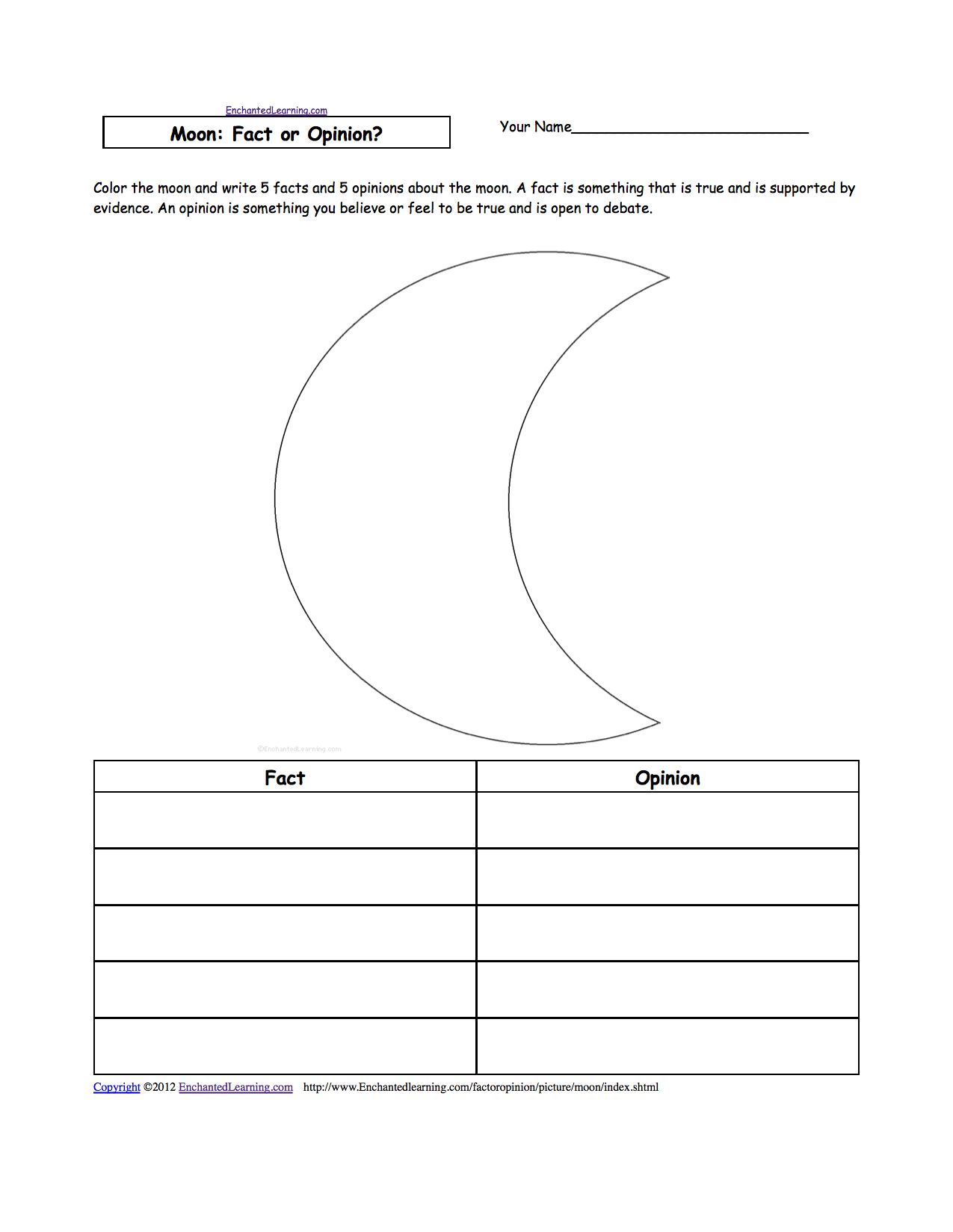 Phases Of The Moon Worksheet Color the picture of the moon,