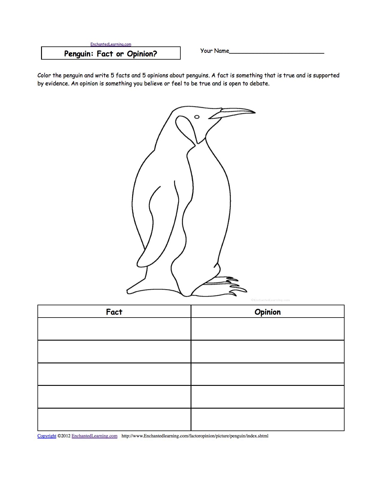 Printables Penguin Worksheets penguins at enchantedlearning com penguin fact or opinion