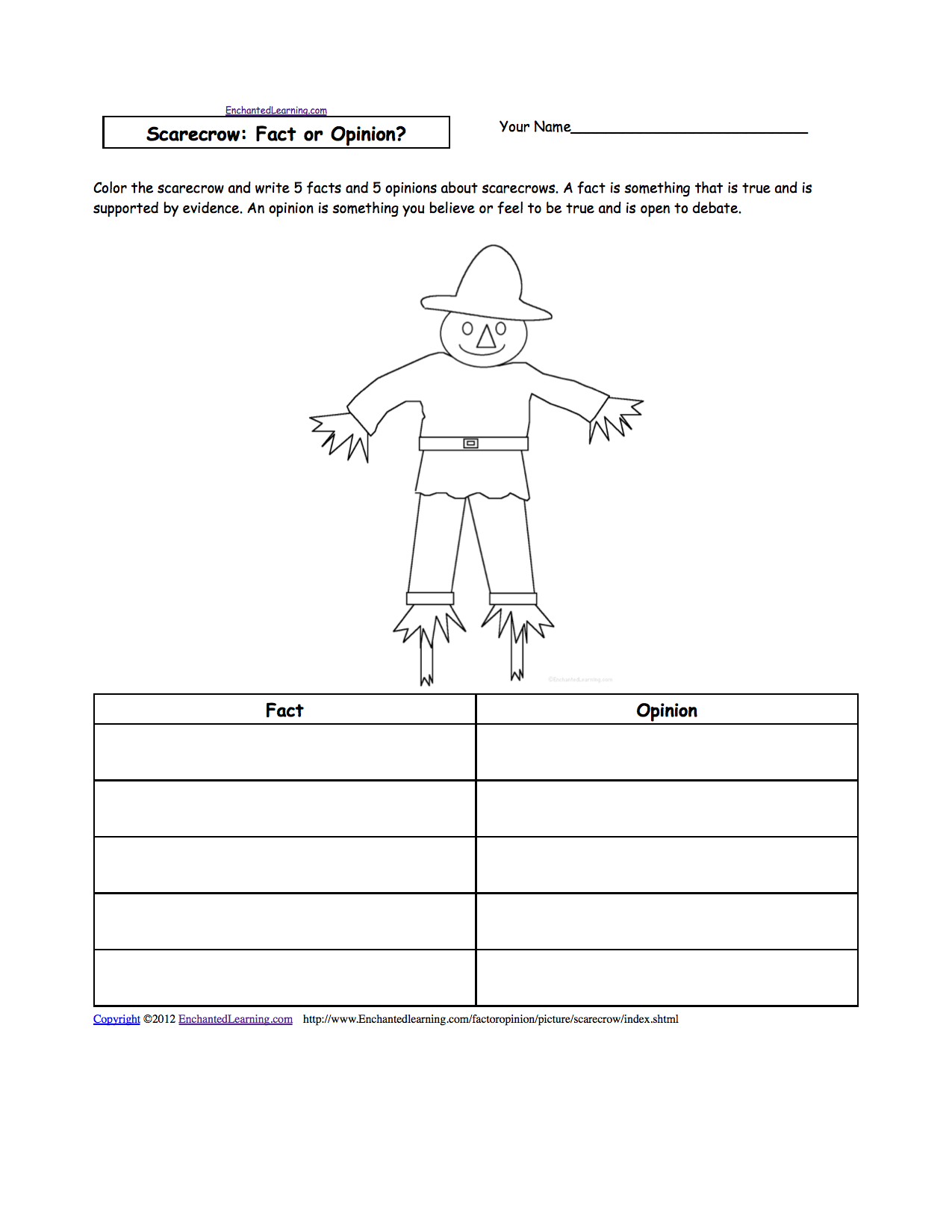 scarecrow activities at enchantedlearning com