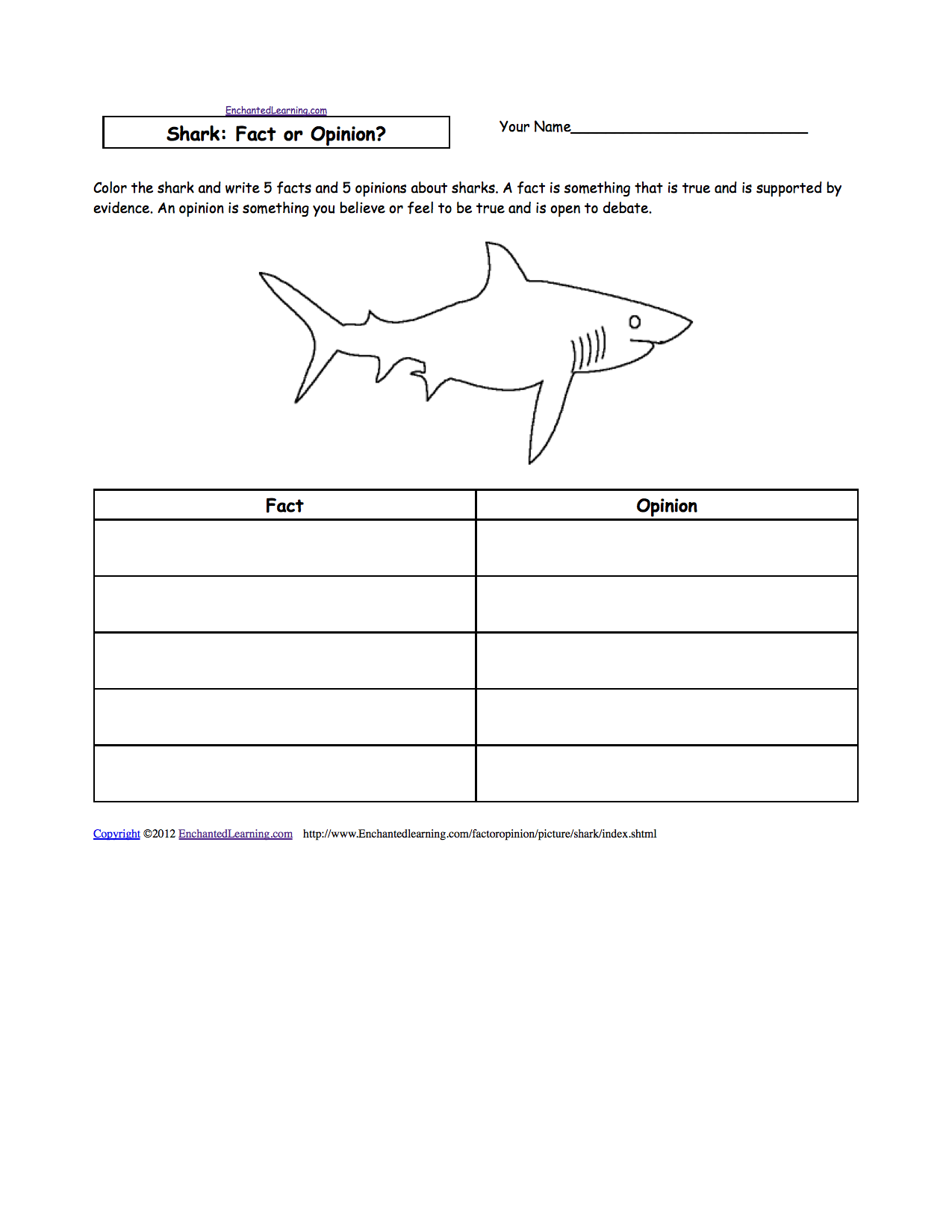 Sharks in the Classroom Enchanted Learning Software – Shark Worksheets