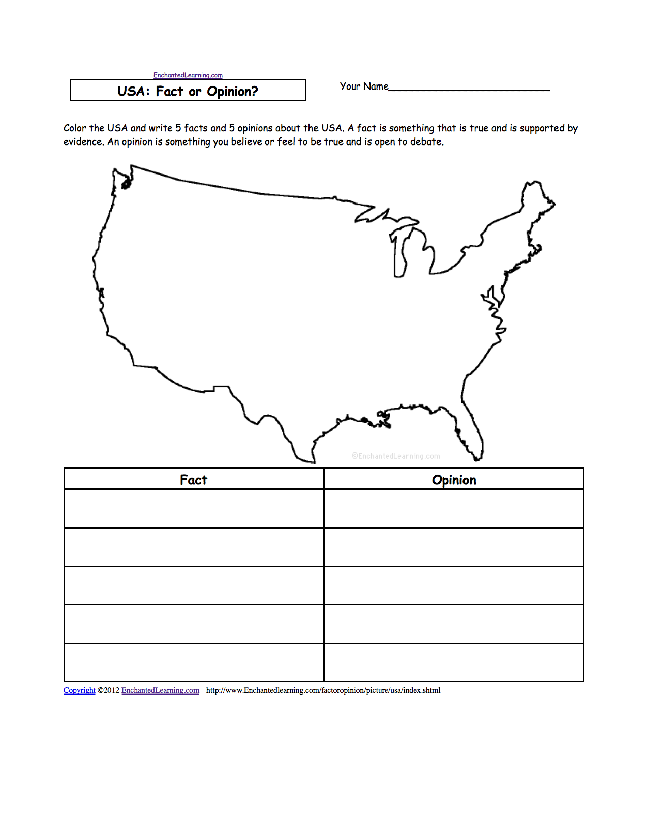 US GEOGRAPHY EnchantedLearningcom - Unlabeled us map