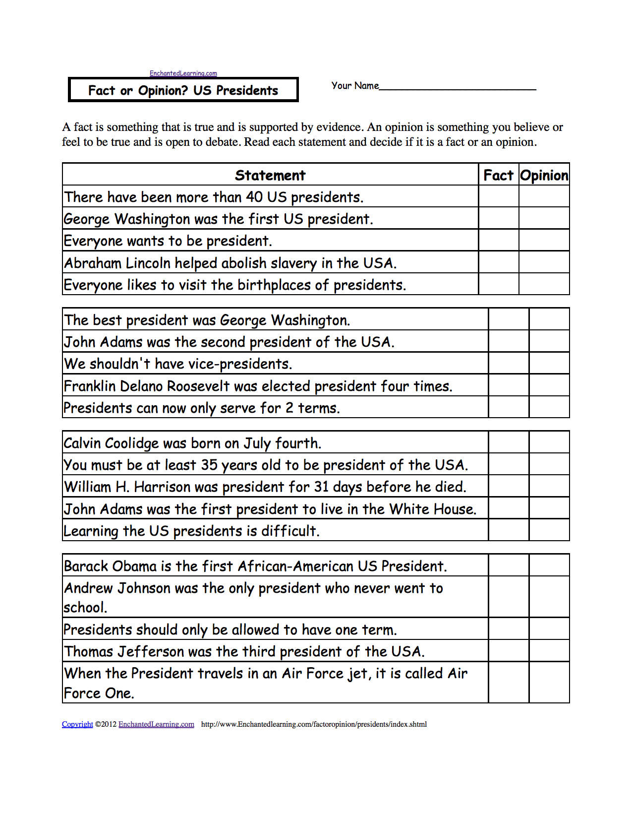 worksheet Korean War Worksheet activities worksheets and crafts for presidents day enchanted fact or opinion presidents