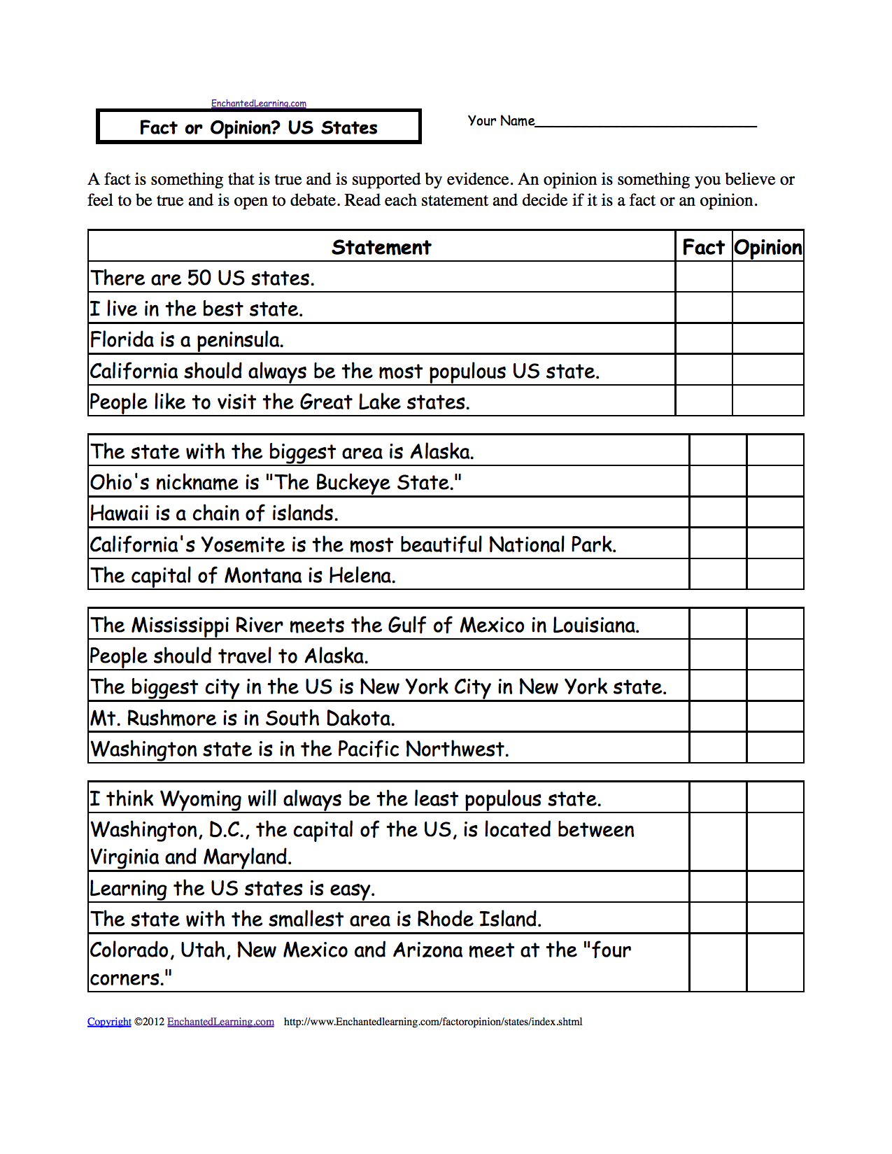 worksheet Louisiana Purchase Worksheet us geography enchantedlearning com fact or opinion states