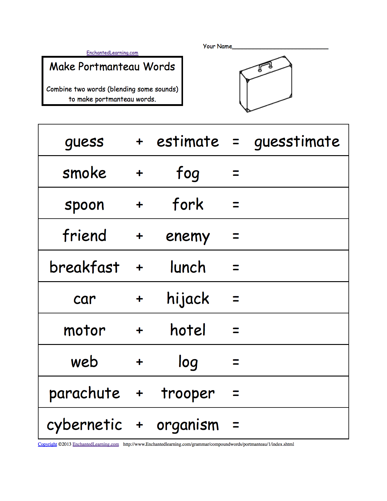 make portmanteau words printable worksheet put two words together and