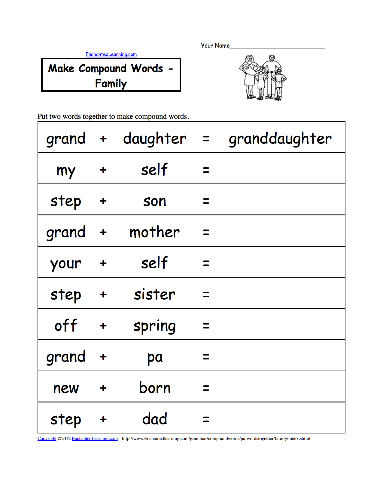 worksheet Family Worksheets family theme page at enchantedlearning com make compound words printable worksheet