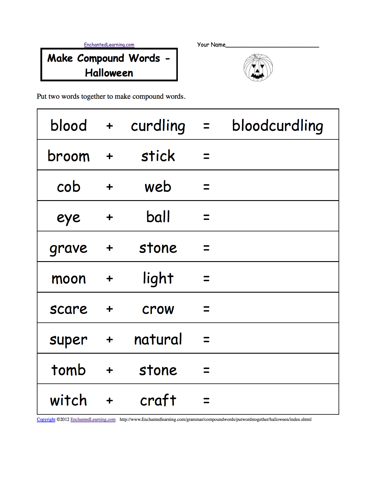 make compound words halloween a printable worksheet enchantedlearningcom